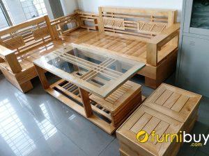 mẫu ghế sofa gỗ sồi đơn giản cho nhà chung cư fbg0111