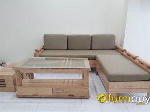 mẫu sofa góc gỗ sồi cho nhà chung cư