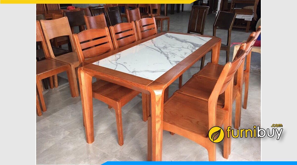 bộ bàn ăn gỗ xoan đào mặt đá vân mây 6 ghế đẹp