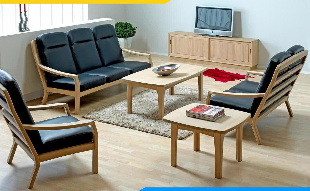 Bàn ghế gỗ Thông đơn giản, thanh lịch cho phòng khách
