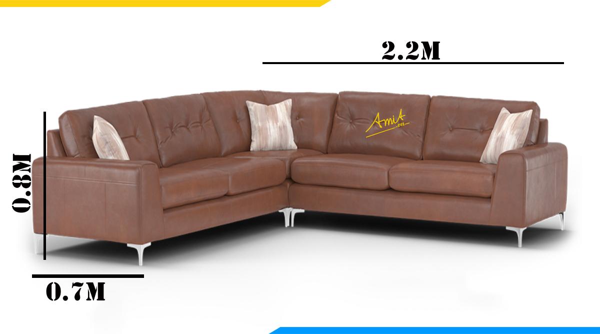 Kích thước thường gặp của bộ sofa góc V hiện đại