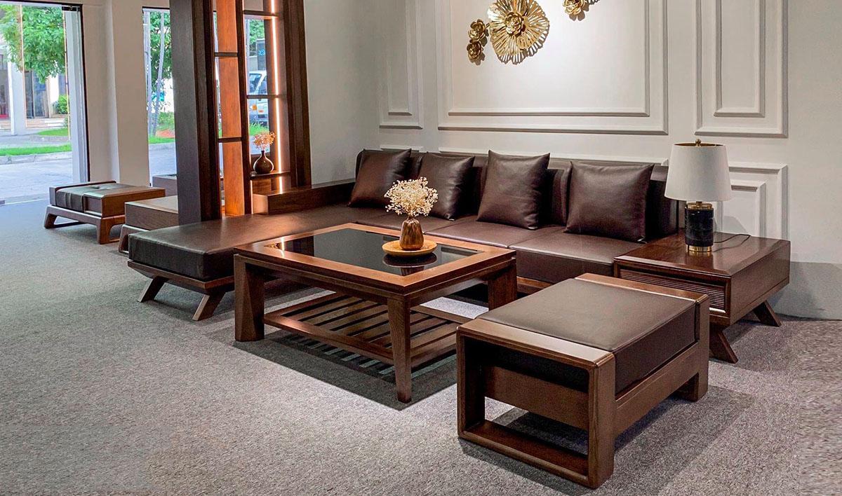 Sofa gỗ Óc chó góc chữ Lsang trọng cho không gian rộng