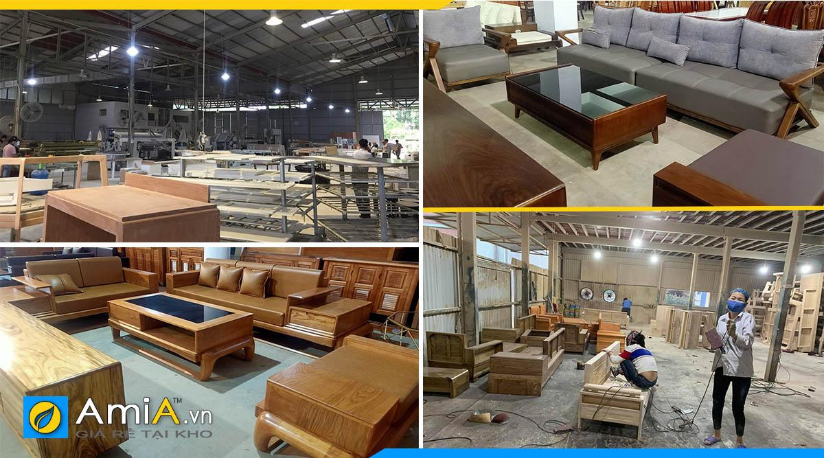 xưởng sản xuất sofa góc gỗ với nhiều trang thiết bị máy móc hiện đại